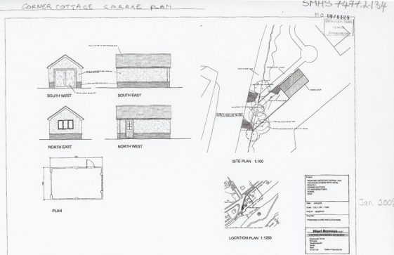 Architect's drawing for a garage at Corner Cottage, Granville Road. 1 January 2008