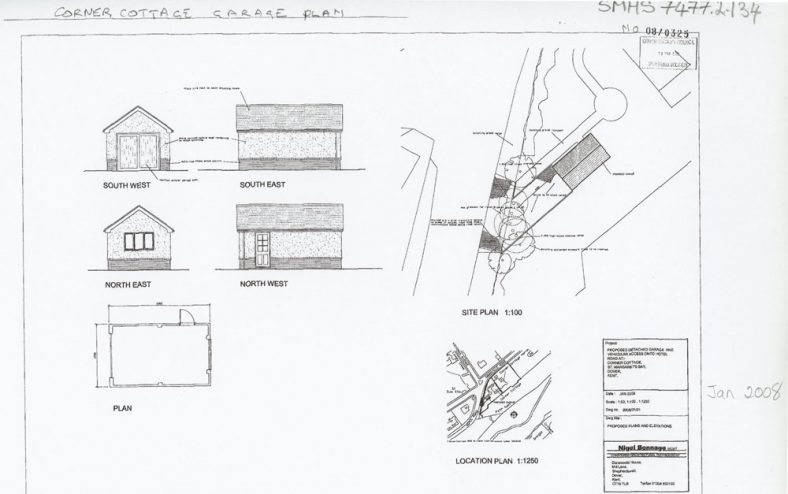 Architect's drawing for proposed garage at 'Corner Cottage', Granville Road. 1 January 2008