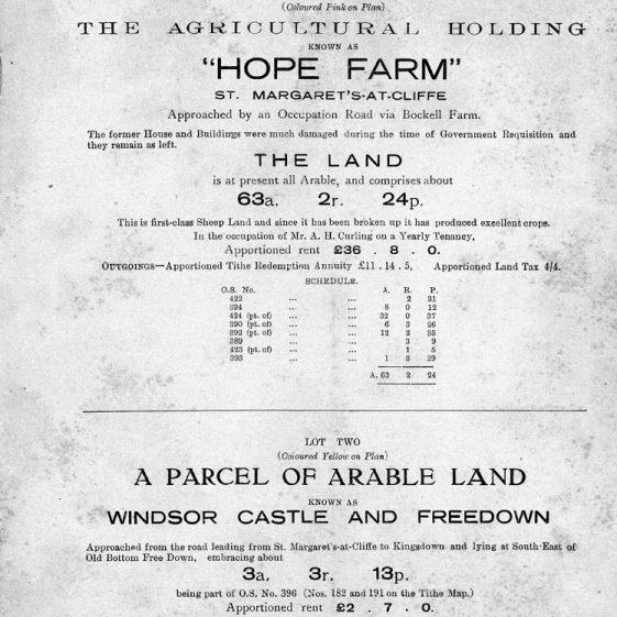 Estate Agent's sale brochure for Hope Farm 1952