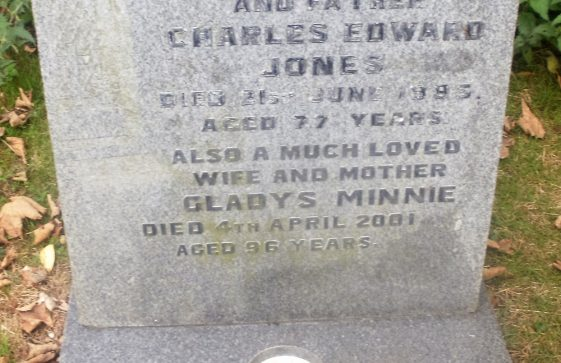 Gravestone of JONES Charles Edward 1985; JONES Gladys Minnie 2001; JONES Eric James Laslett 2001