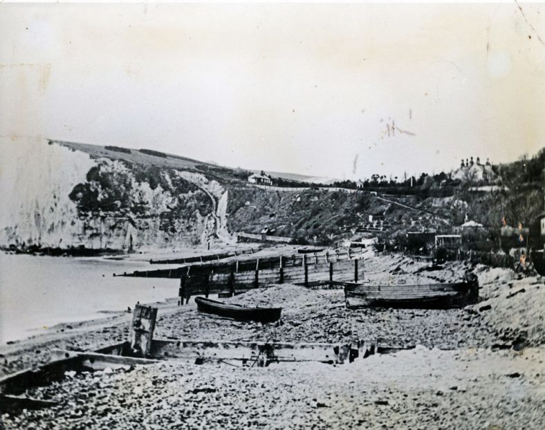 Boats on St Margaret's Bay beach. c1900