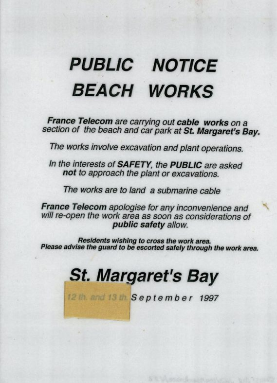France Telecom Official Notice  of cable works being carried out in the Bay area. September 1997