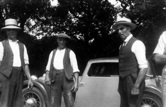 Farm workers and Annie Sharpe's father at Bockhill Farm