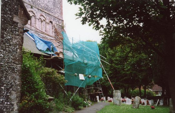 Repairs to the vestry roof.  16 July 2004