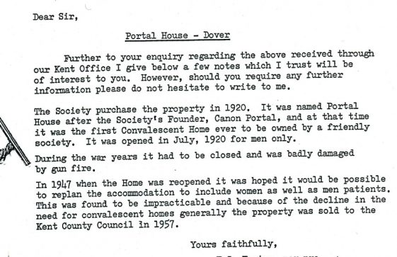 Letter from National Deposit Friendly Society to Portal House School re history. 28 September 1978