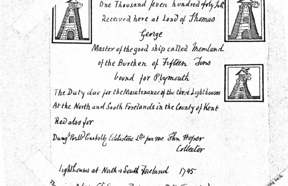 Copy of a receipt for duty paid by a ship for maintenance of the North and South Foreland Lighthouses.  1745