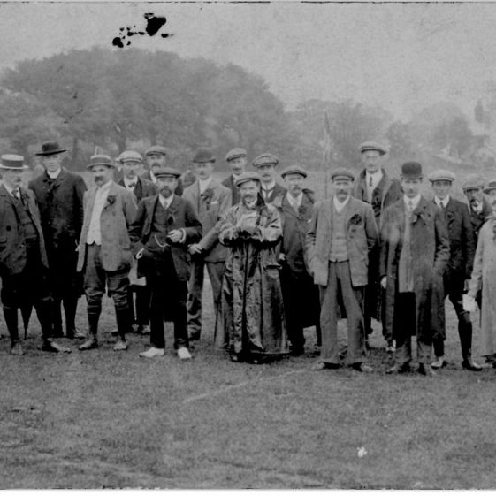 Officials at St Margaret's Sports Day. 1909 postmarked 1910