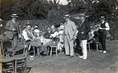 Bowls Club enjoying tea. c1914