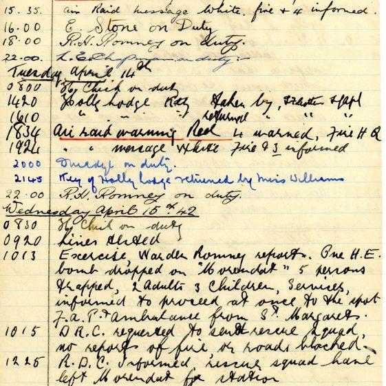 St Margaret's ARP (Air Raid Precautions) Log. Volume 5. 25 September 1941 - 17 July 1942. Pages 87-96