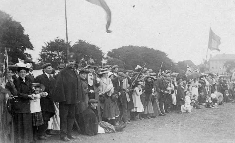 Spectators and policeman at St Margaret's Sports Day. c1908