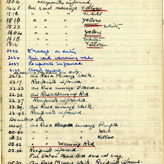 St Margaret's ARP (Air Raid Precautions) Log. Volume 3. 2 November 1940 - 17 February 1941. Pages 70-79