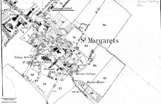 OS map 1862-1872 showing location of the National School St Margaret's at Cliffe