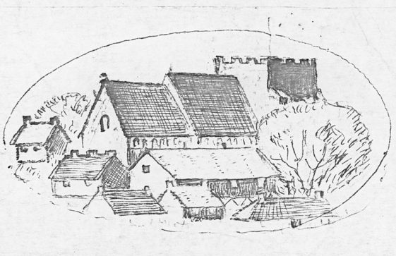 Drawing of St Margaret's Church from the north east by John Jewell. c1970