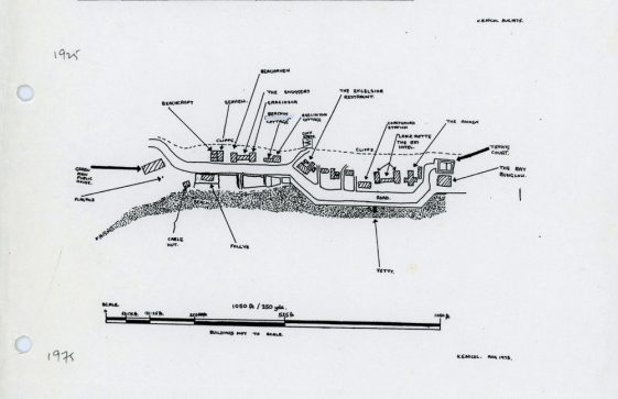 Sketch map of properties and buildings in the Bay 1894 to 1975