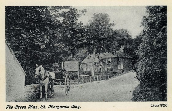 The Green Man at bottom of Bay Hill with pony and cart. c1900