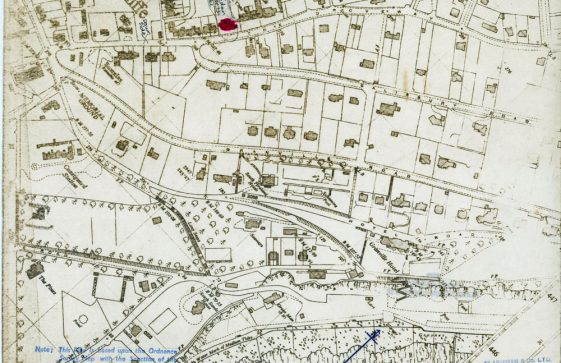 Map showing location of Penlee School, The Droveway.  undated