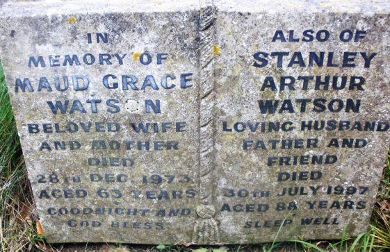 Gravestone of CHAPMAN George William 1949; CHAPMAN Ethel Ellen 1960; WATSON Maud Grace 1973; WATSON Stanley Arthur 1997
