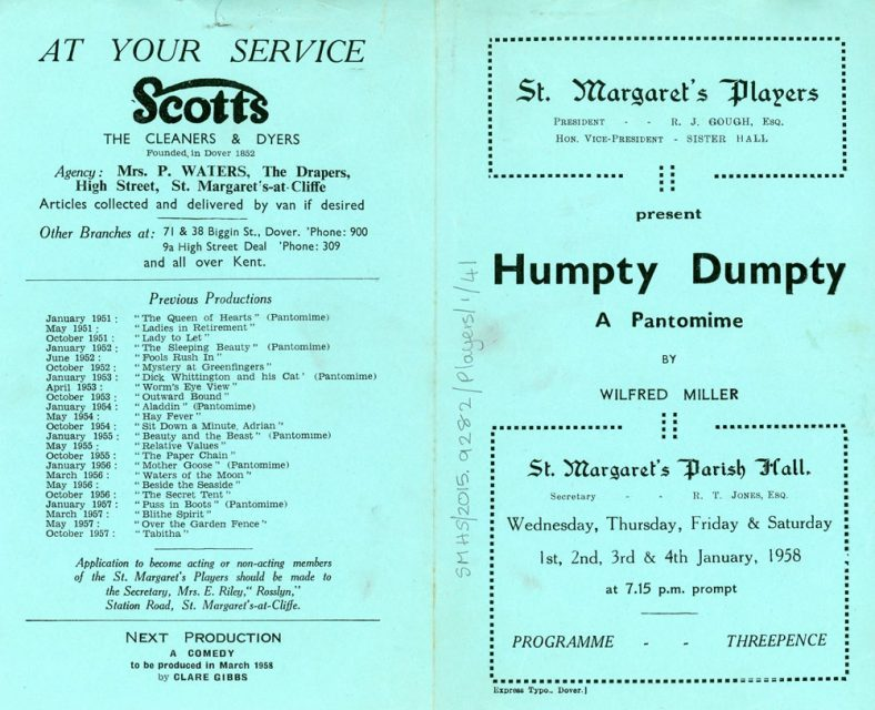 Programme of St Margaret's Players pantomime 'Humpty Dumpty'. 1958
