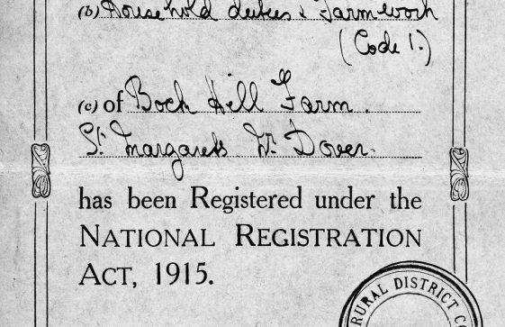 Registration card for Annie Sharpe. 15th September 1915