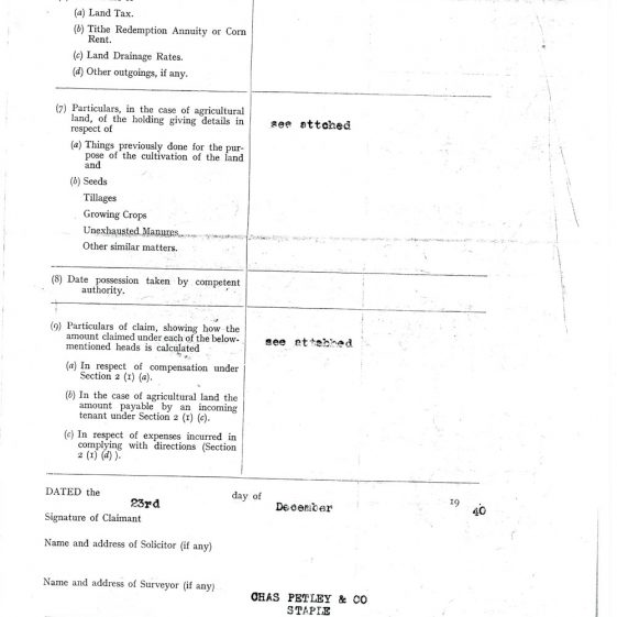 Claim for diminution of value of income from Townsend Farm and other land during WWII. 1940