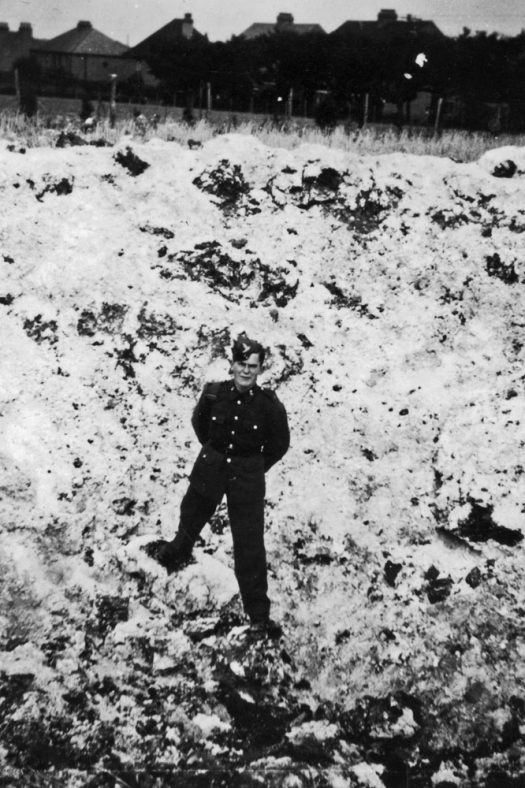 Bomb crater in Reach Road 1940