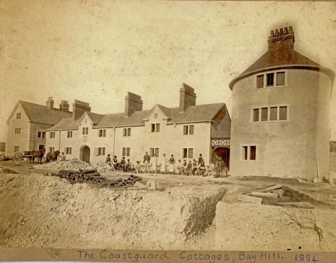 Coastguard Station, Bay Hill under construction and nearing completion. 1884