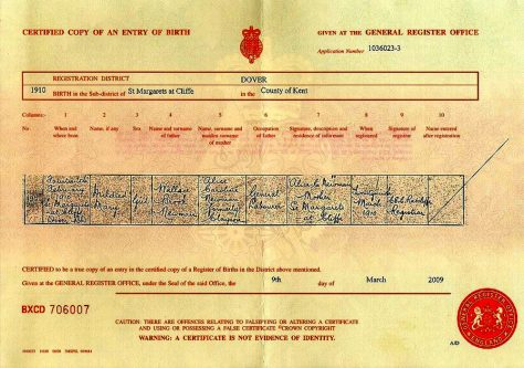 Birth Certificate of Mildred Mary Newman. 1910