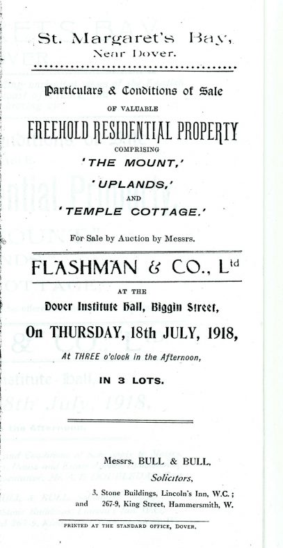 An advertisement describing three properties for sale in The Droveway and Granville Road.  'The Mount' , 'Uplands' and 'Temple Cottage'. 1918