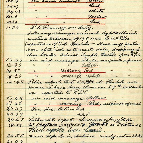 St Margaret's ARP (Air Raid Precautions) Log. Volume 3. 2 November 1940 - 17 February 1941. Pages 90-99