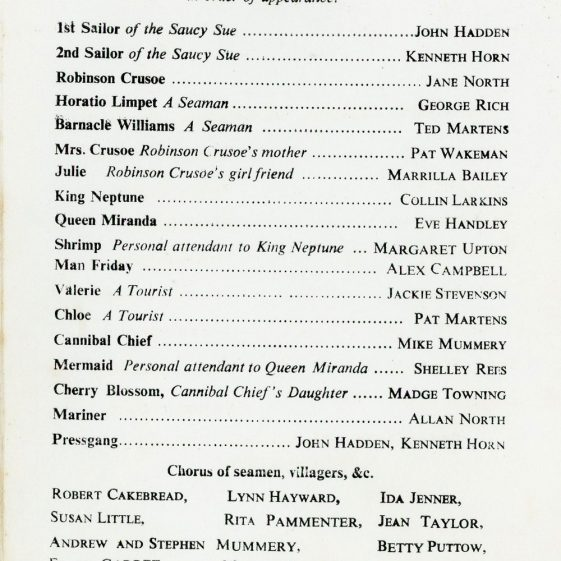 Programme for the St. Margaret's Players Production of  'Robinson Crusoe'. undated