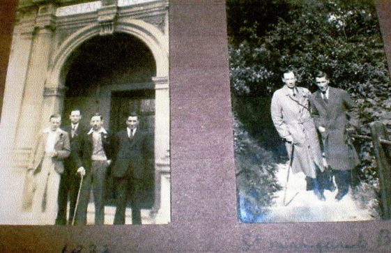 Men at the doorway of Portal House; men on the Long Steps. 1933