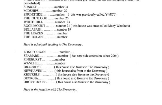 List of houses in Salisbury Road - north and south sides of the road. 2004