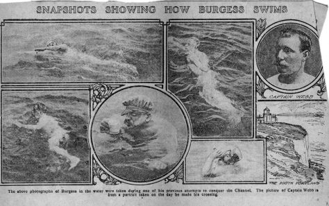 'Snapshots showing how Burgess Swims'. Western Gazette 1911