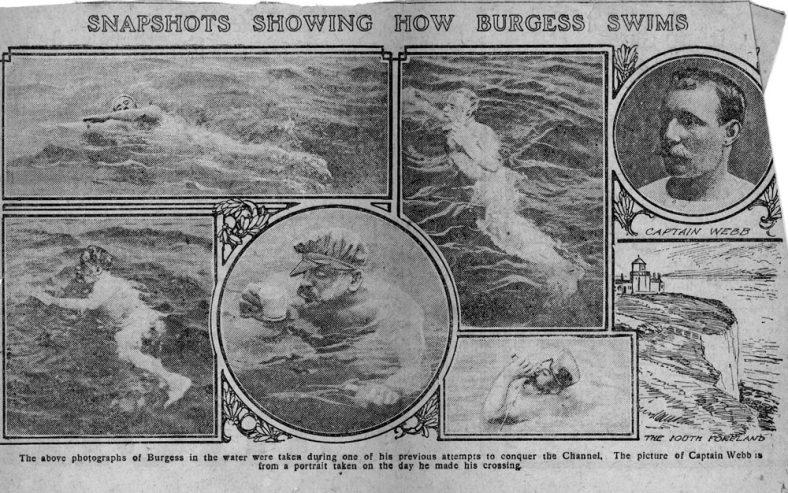 'Snapshots showing how Burgess Swims'. Western Gazette 1911