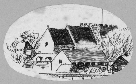 Drawing of the church from the north east, by ?John Jewell.  20th century