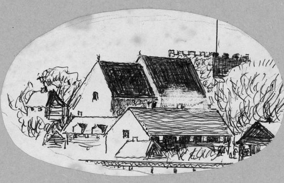 Drawing of St Margaret's Church from the north east, by John Jewell.  20th century