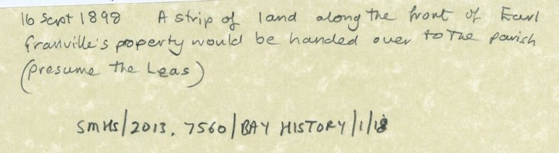 Acquisition of Land (the Leas?) in 1898