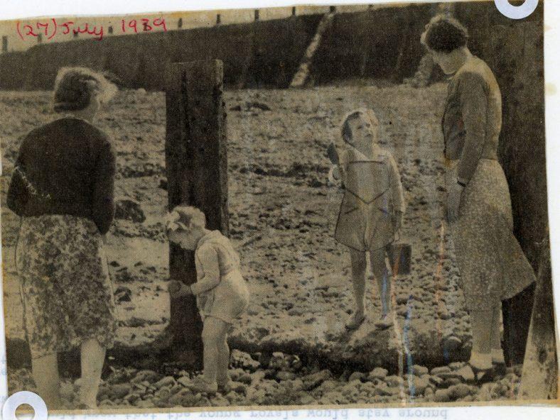 Prince Edward and Princess Alexandra on the beach St Margaret's Bay. 1939; Genealogy card for Sir George Bullogh