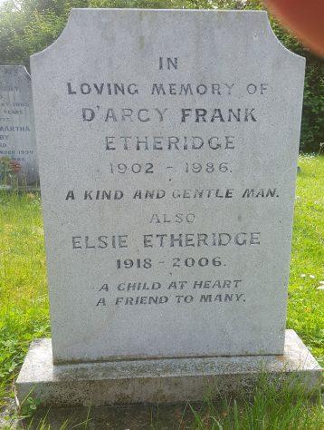 Gravestone of ETHERIDGE Elsie 2006; ETHERIDGE D'Arcy Frank 1986