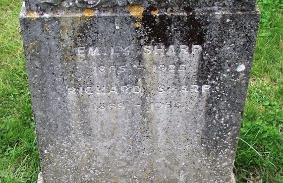 Gravestone of SHARP Richard 1962; SHARP Emily 1925