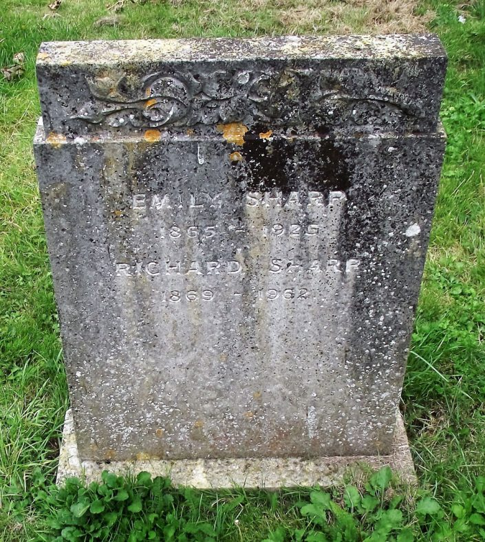 Gravestone of SHARP Richard 1962; SHARP Emily 1925 | Dawn Sedgwick