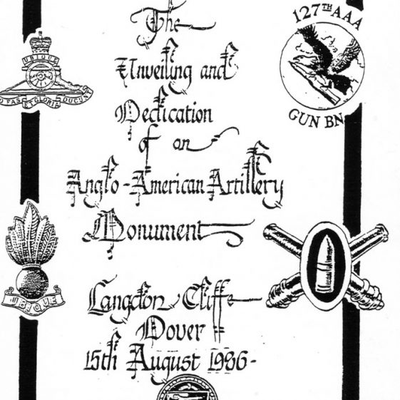 Anglo American Artillery Monument Dedication service sheet, Upper Road 15 August 1986