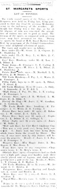 Details of 10th St Margaret's Sports Day. 1905