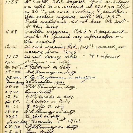 St Margaret's ARP (Air Raid Precautions) Log. Volume 5. 25 September 1941 - 17 July 1942. Pages 29 - 38