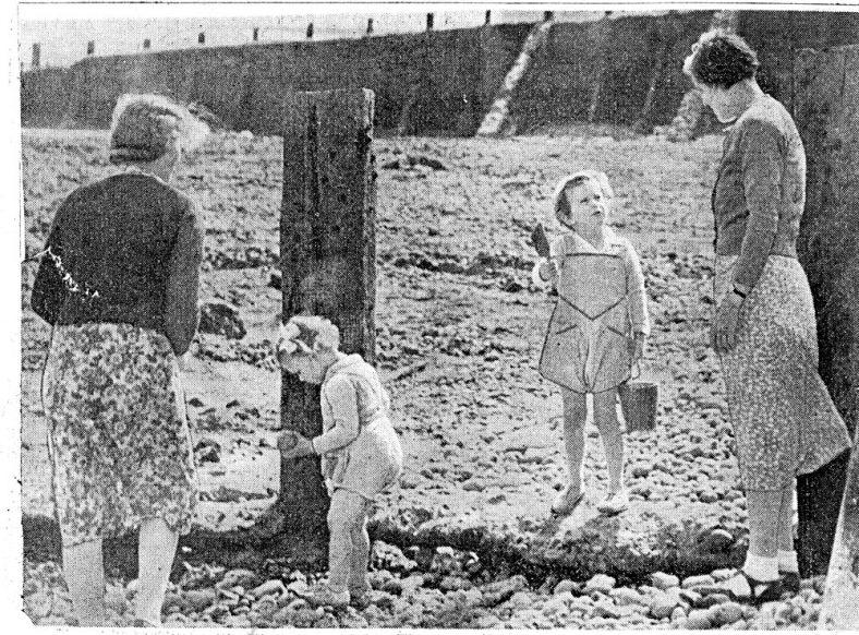 Prince Edward and Princess Alexandra on the beach at St Margaret's Bay. 1939