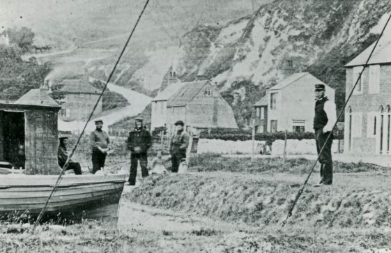 Coastguard cottages and Atkins family in St Margaret's Bay. c1865