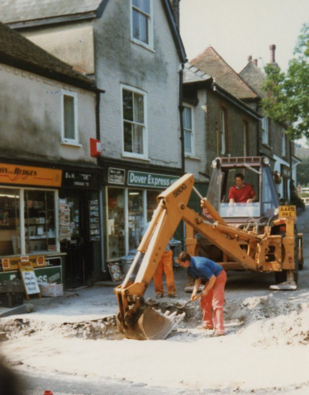 Road works in the High Street - Well Lane Junction 1986