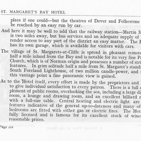 Advertising booklet for St Margaret's Bay Hotel. 1930s
