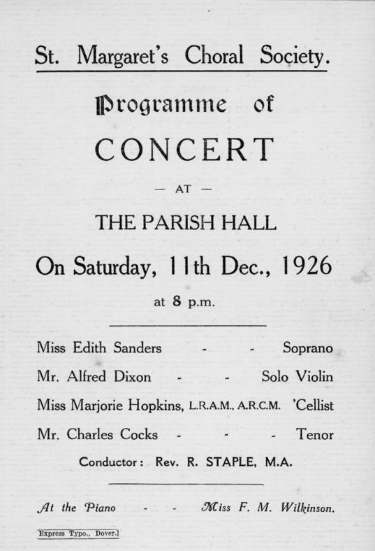 Programme of a Concert by St Margaret's Choral Society. 11th December 1926