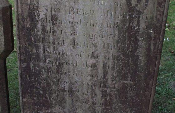 Gravestone of MUMFORD Ann 1850; UPTON  John 1834; UPTON Susannah 1836; UPTON Susannah 1858